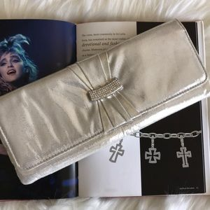 Icing Silver Lamé evening clutch crystal accents